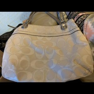White large coach shoulder bag